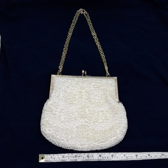 Ernest Handbags - Vintage Ernest White Bead and Pearl Evening Purse